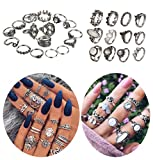 ANGELANGELA Vintage Assorted 12 Set Stacking Rings, Antique Silver Joint Above Knuckle Nail Midi Band Statement Stackable Cuff Toe Finger Ring Set (28Pc/Set Leaf)