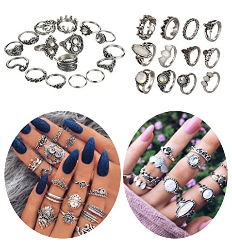 ANGELANGELA Vintage Assorted 12 Set Stacking Rings, Antique Silver Joint Above Knuckle Nail Midi Band Statement Stackable Cuff Toe Finger Ring Set (28Pc/Set Leaf) by ANGELANGELA
