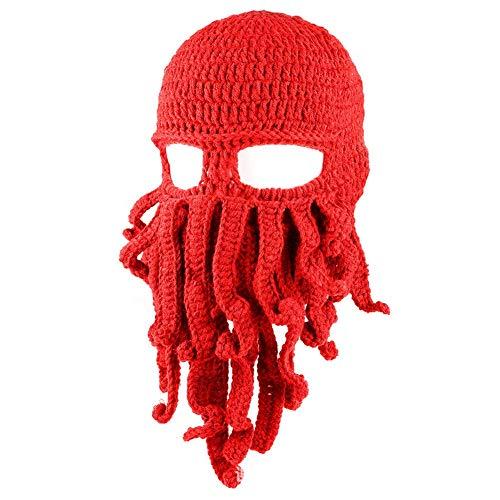 Zuozee Octopus Beanie Hat,Knit Octopus Mask Beard Balaclavas,Octopus Cosplay Costume Halloween Christmas Men -