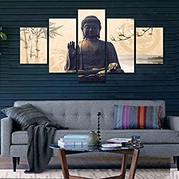 Shuaxin Large 5 Piece Buddha Wall Art Picture Modern Home Decor Living Room  Bedroom Canvas Print