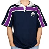 iLuv Scottish Mens Rugby Shirt Purple Stripe Thistle Logo Short Sleeve Navy Size 4X-Large