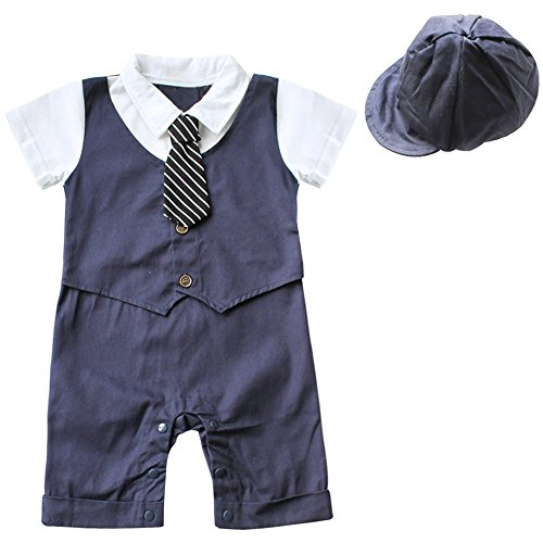 FEESHOW Baby Boys' Short Sleeve Gentleman Romper with Hat 2pcs Outfit Set Size 6-9 Months Navy Blue (Infant Top Hat)