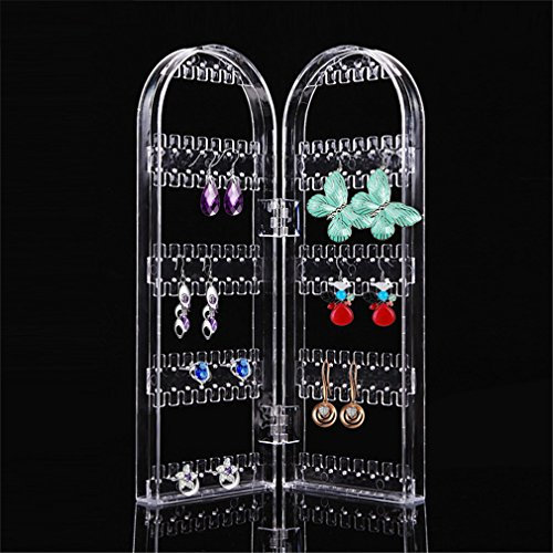 Jewelry Display Acrylic Clear Holder 120 Hole Cosmetic Organizer Storage Makeup Case Cabinet Box Jewelry Display Holder by UJKCKW JCSD