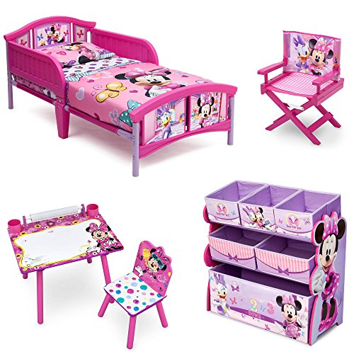 Disney Delta Children Enterprise Minnie Mouse 5 Piece Furniture Set - Plastic Toddler Bed, Multi-Bin Organizer, Art Desk and Chair, Director's Chair for Girls Toddler
