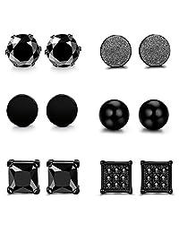 FUNRUN JEWELRY 4 Pairs Stainless Steel Black Stud Earrings Set for Men Women CZ 4-6MM