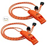 LuxoGear Emergency Whistles Safety Lifeguard Whistle Survival Shrill Loud Blast with Lanyard for Kids Kayak Life Vest Jacket Boating Fishing Boat Camping Hiking Hunting Rescue Dog Signaling 2 Pack