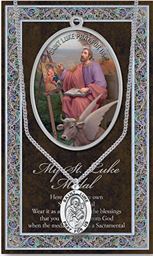 ++ SAINT LUKE Genuine Pewter Medal With Stainless Chain & Prayer Card w Copyrighted Paul Herbert Blessing PATRONA Series
