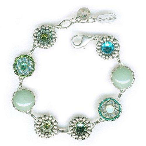 (Clara Beau Charming SilverTone Green Swarovski crystal Filigree Cluster Bracelet BF152)