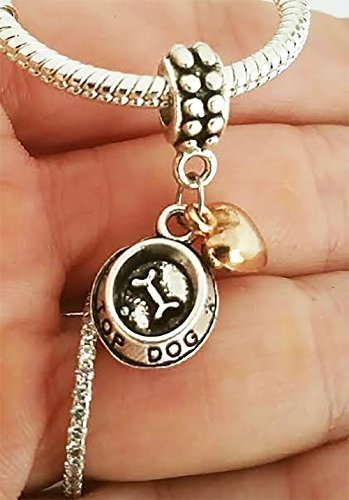 Bowl Large Pendant - EWT Love My dog Bowl, top dog Charm Pendant for fit all brand charm bracelets and any chain necklace