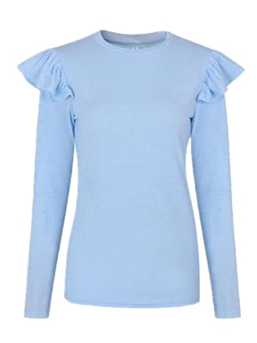 Tayaho Mujer Cuello Redondo Camiseta Blusa Mangas Largas Vintage Camisa Casual Elegante A Rayas Ofic...