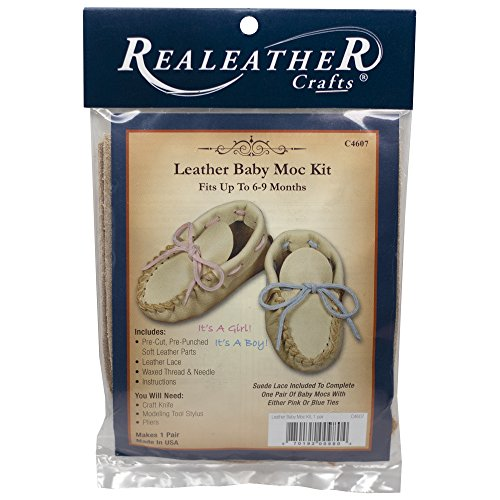 Realeather Silver Creek Kit Leather Baby Moccasin, 6-9 months, Buckskin - Moccasin Kit