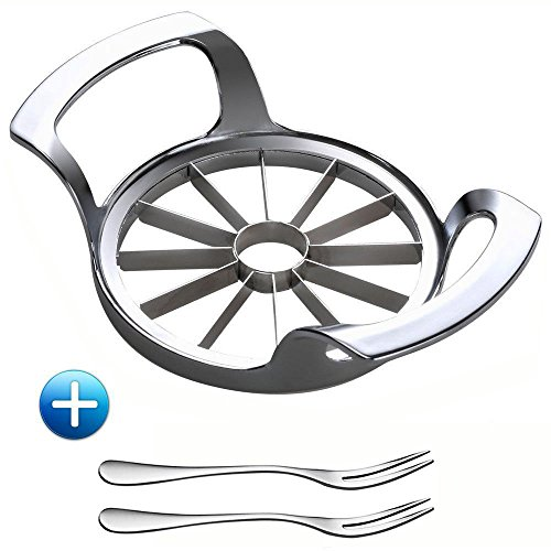 Pear Cutter - HAMAXA 12-Blade Extra Large Heavy Duty Apple Slicer Corer Cutter Wedger Divider for [up to 4 Inch Apples] with Ultra Sharp 100% 18/8 304 Food Grade Stainless Steel Blade Fruit Forks