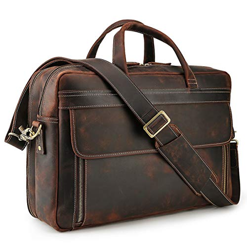 Tiding 17 Inch Men's Thick Full Grain Genuine Leather Laptop Business Briefcase Large Messenger Bag