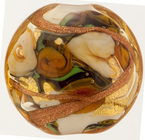 Goldenrod with Aventurina and 24kt Gold Foil Bed of Roses 25mm Murano Glass Bead Handmade Lampwork
