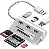 """Rybozen 6-in-1 USB 3.0 Card Reader, Aluminum Data USB 3.0 Hub with 3 High-Speed Ports and 1 CF/SD/TF Card Reader, 12"""" USB Cab"""