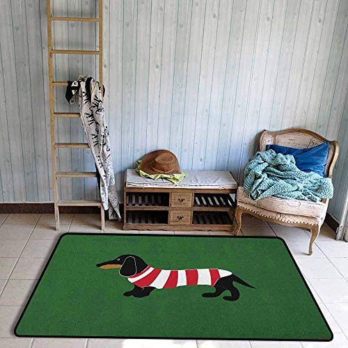 Kids Rug,Dachshund Abstract Canine Cartoon Design Dachshund Puppy in Stripped Shirt Funny -