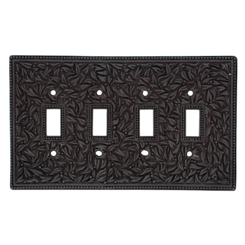 Vicenza Designs WPJ7008 San Michele Wall Plate with Jumbo Quad Toggle Opening, Oil-Rubbed Bronze by Vicenza Designs