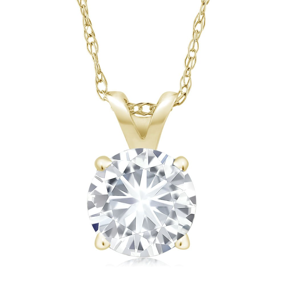Charles & Colvard 6MM VG Moissanite 14k Yellow Gold Solitaire Pendant Round 4 Prong With COMPLIMENTARY 18'' 14K Yellow Gold Chain (0.70 ct Moissanite, White Color, SI2-100% Eye Clean)