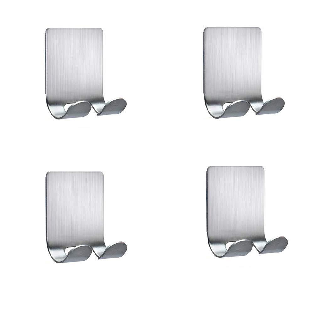 Razor Shower Holder 4 Pack,Sageme Plug Holder Hook Razor Hooks Wall Hooks for Shower Sticking Wall Self Adhesive for Hanging Kitchen Bathroom Double Hooks, Brushed Stainless Steel