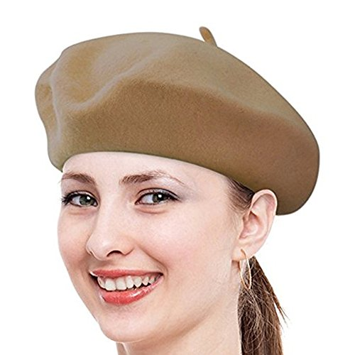 [Classic French Beret, FuzzyGreen Khaki Solid Color French Wool Beret - 2017 Newest] (Beatnik Costumes Ideas)
