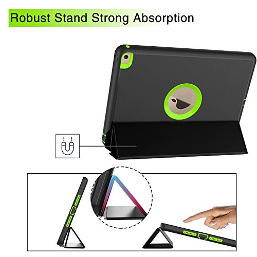Qelus iPad Air2 Case, Three Layer Hybrid Shockproof Rugged Protective Heavy Duty with Magnetic Stand, Smart Cover Auto Wake/Sleep Protective Case Cover for Apple iPad Air 2(2014 Released),Black+Green by Qelus (Image #5)