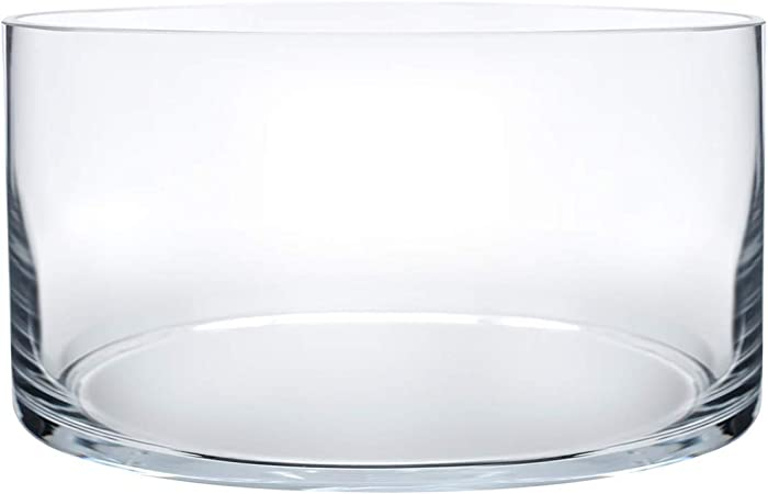 """Royal Imports Flower Glass Vase Decorative Centerpiece for Home or Wedding Cylinder Shape, 4"""" Tall, 8"""" Opening, Clear"""