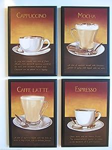 Coffee Kitchen Wall Decor Plaques Mocha Cappuccino Latte Espresso Wall Decor Signs 4 Piece Set