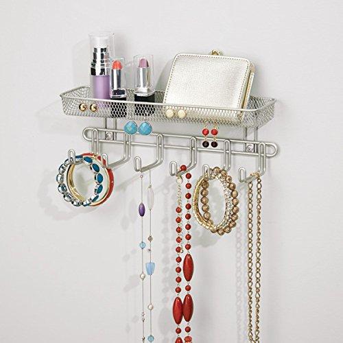 Joyero con ganchos mDesign Pr/áctico organizador de joyas para pared Mueble joyero para anillos Color: satinado 27,9 cm Con 6 ganchos y 1 compartimento gafas collares y pendientes