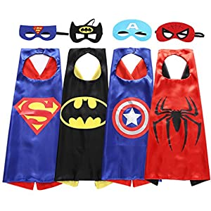 Sholin Superhero Dress Up Costumes - 4 Satin Capes and 4 Felt Masks?