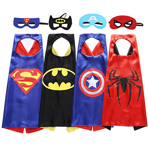 Wootec Superhero Dress Up Costumes - 4 Satin Capes and 4 Felt Masks
