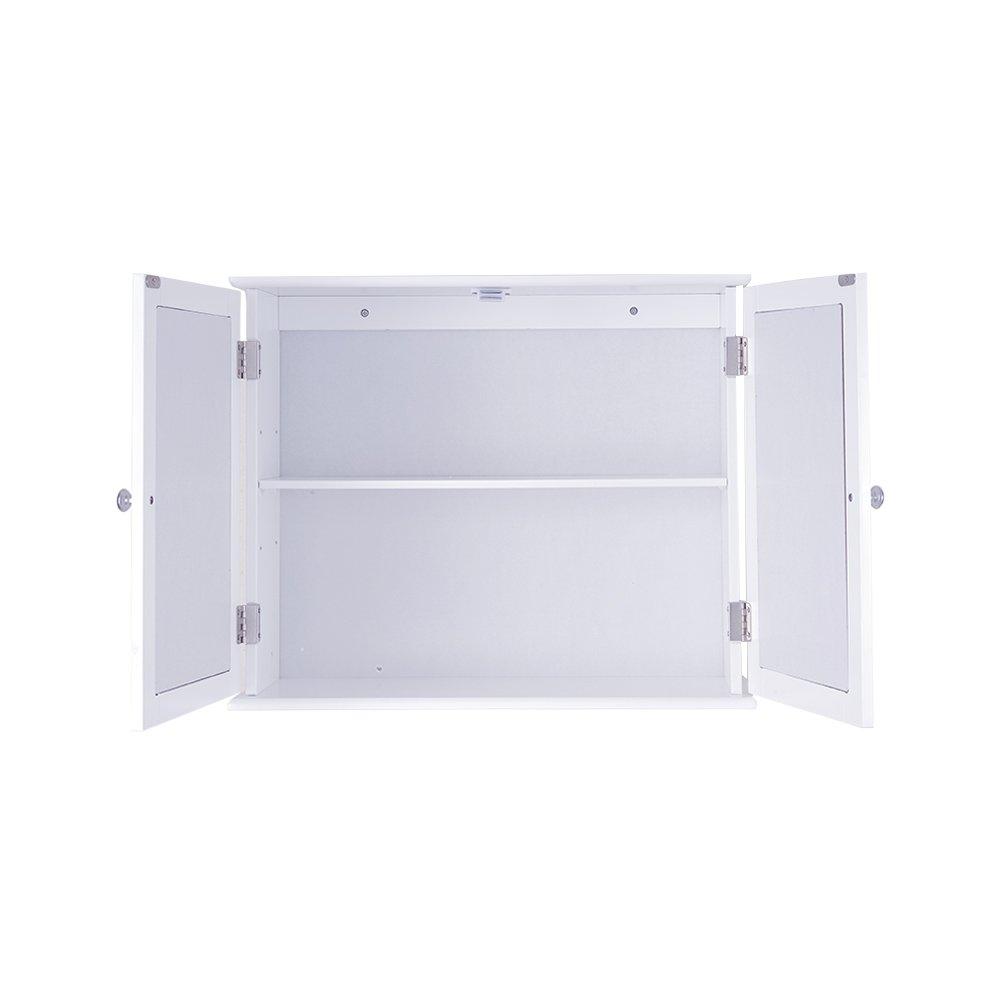 PANANASTORE/Bathroom Double Mirror Doors Cabinet Shelf Wall Mountable Storage Cupboard Unit White