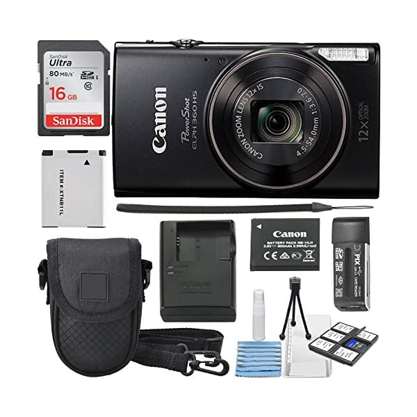 Canon PowerShot ELPH 360 HS 12x Optical Zoom Built-in Wi-Fi Deluxe Accessory Bundle...