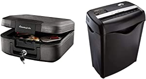 SentrySafe CHW20221 Fireproof Box and Waterproof Box with Key Lock 0.28 Cubic Feet,Charcoal Gray & AmazonBasics 6-Sheet Cross-Cut Paper and Credit Card Home Office Shredder