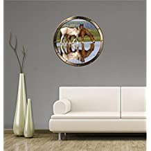 "24"" Porthole Ship Window Nature View HORSES IN WATER #2 PEWTER Wall Graphic Kids Decal Baby Room Sticker Home Den Mural Man Cave Art Décor MEDIUM"