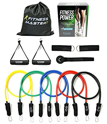 Resistance Bands - Free Carry Case - Premium Quality - For Weights Exercise, Fitness Workout, P90X - Anti Snap, Heavy Resistant Tube Band Set comes with Door Anchor Attachment and Legs Ankle Straps