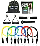 Resistance Bands - Free Carry Case - Premium Quality - For Weights Exercise, Fitness Workout & P90X - Anti Snap, Heavy Resistant Tube Band Set comes with Door Anchor Attachment & Legs Ankle Straps