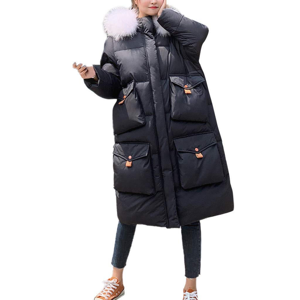 Juesi Women's Padded Jacket, Winter Warm Coat Hooded Thick Parka Faux Fur Jacket Loose Long Overcoat with Pockets Black by Juesi