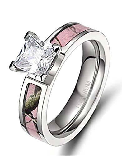 Women's Pink Camo Titanium Engagement Rings with Cubic Zirconia Polished Finish Comfort Fit (8) (Ring Set Pink Camo)