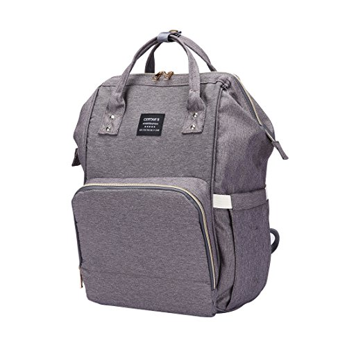 Diaper Multifunction Waterpoorf Nappy Backpack with Changing Pad for GH,Large Capacity,Weekend Backpack,Stroller Straps (Grey)