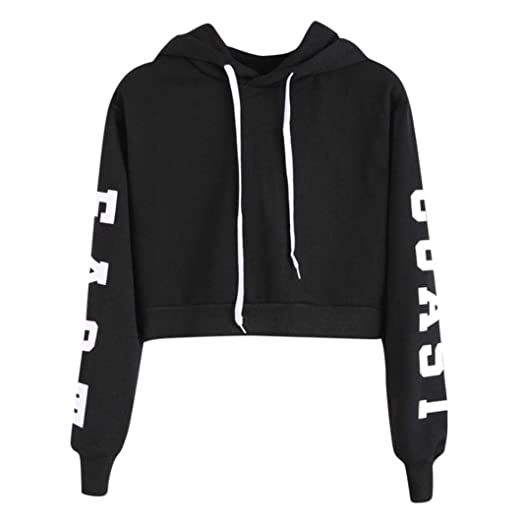ce679b308 2018 New! Sexy Short Hoodies,Women Teen Girls East Coast Letters Printed  Pullover Long Sleeve Solid Hoody Sweatshirts