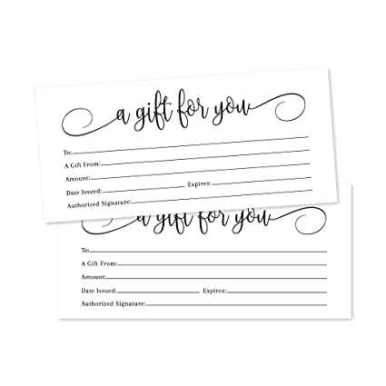 picture relating to Printable Restaurant Gift Cards identified as 25 4x9 White Blank Present Certification Playing cards Vouchers for Vacation, Xmas, Birthday Holder, Tiny Business enterprise, Cafe, Spa Elegance Make-up Hair Salon,