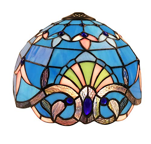 Stained Glass Shade - NOSHY SH-041 Premium Tiffany Style Baroque Replacement Table Lamp Shades, Blue Color, Stained Glass Chimney,12