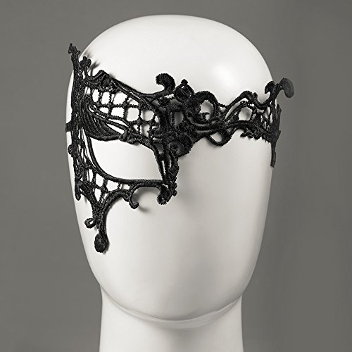 K-12 Single Eye Lace Floral For Sexy Lady New Cutout Mask Masquerade Masks Party Fancy Dress Costume ()