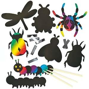 Baker Ross Imanes de Insectos para Rascar Manualidades Creativas Scratch Art Perfectas como Decoraciones Personalizadas y Actividades de Fiestas Infantiles (Pack de 12)