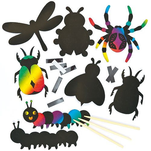 Baker Ross Insect Scratch Art Self-Adhesive Magnets 6 Assorted for Children to Design & Make (Pack of 12) -