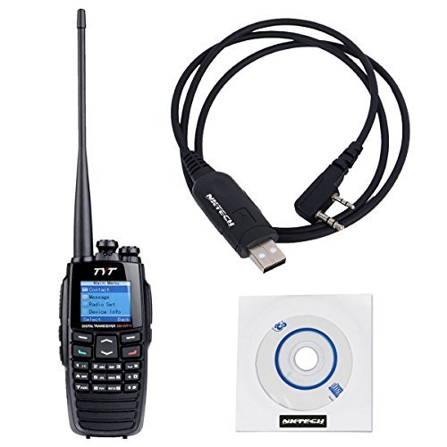 NKTECH USB Programming Cable & TYT DM-UVF10 136-174/400-470MHz Dual Band DPMR 256CH 5W DTMF VOX 1750Hz Digital Transceiver Two Way Radio Walkie Talkie by NKTECH