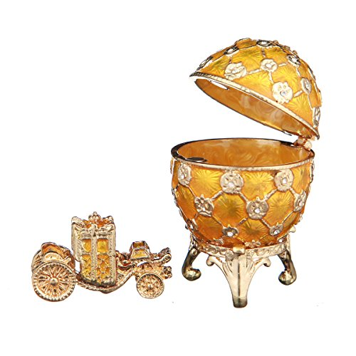 (danila-souvenirs Russian Faberge Style Egg/Trinket Jewel Box Russian Coat of Arms & Carriage yellow)