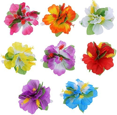 8pcs Hawaiian Hibiscus Flower Hair Clips Hairclips for Hawaiian Tropical Beach Costume Party Decoration Supplies - Colorful