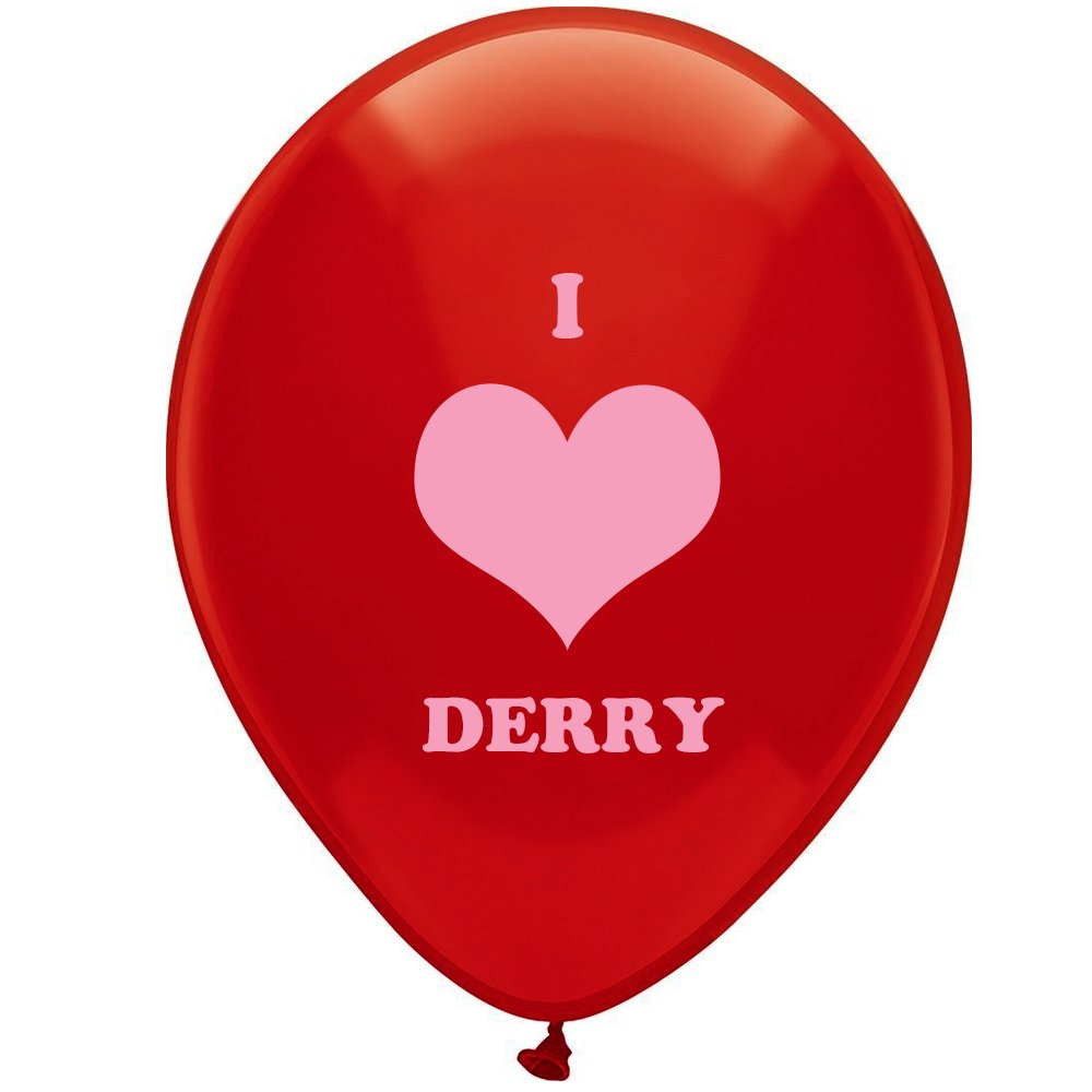 Stephen King's It Novels Books Terror Props I Love Derry Halloween Decorations 12 inch Red Balloons(25 Pcs)