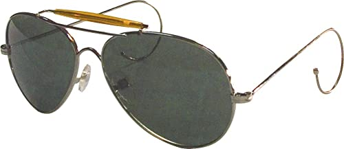 Amazon.com  10200 AIR FORCE STYLE SUNGLASSES -GOLD FRAME - GREEN ... 73c0da25447